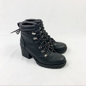 H&M Black Faux Leather Lace Up Moto Combat Boots